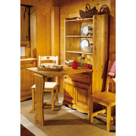 Alpes Developpement Farmer Solid Pine Dresser With Fold Down Dining Table