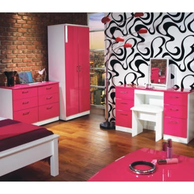 pink and white gloss bedroom furniture emmeline high gloss 3 bedroom set in white and pink 20762