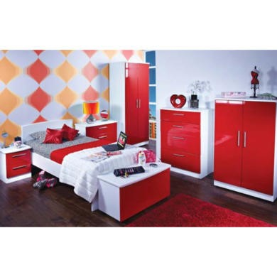 Welcome Furniture Hatherley High Gloss 6 Piece White And Red Bedroom