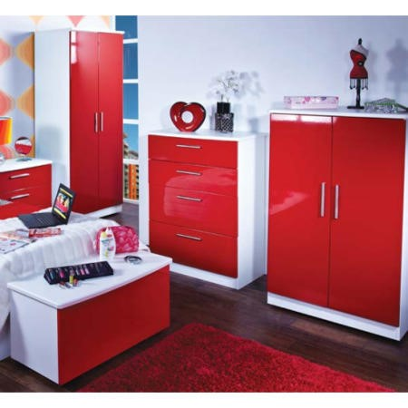 Hatherley High Gloss 4 Piece White And Red Bedroom Storage