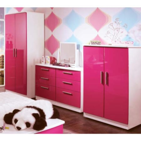 Welcome Furniture Hatherley High Gloss 3 Piece White and Pink ...