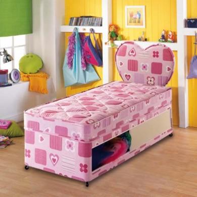 Airsprung Beds Airsprung Kids Beta Pink Divan and Mattress  single with sliding door