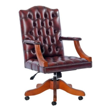 Icon Designs St Ives Gainsborough Leather Swivel Study Chair in Red