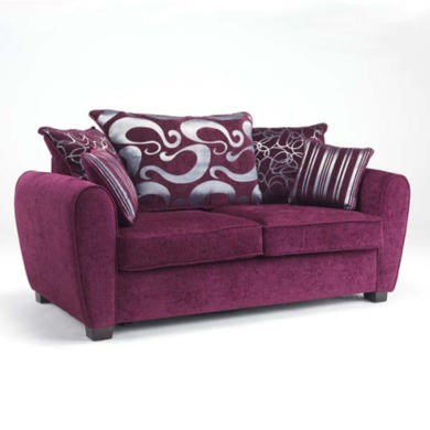 Icon Designs St Ives Monaco 2 Seater Scatter Back Sofa Bed in Purple