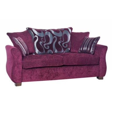 Icon Designs St Ives Vienna 2 Seater Scatter Back Sofa Bed in Purple