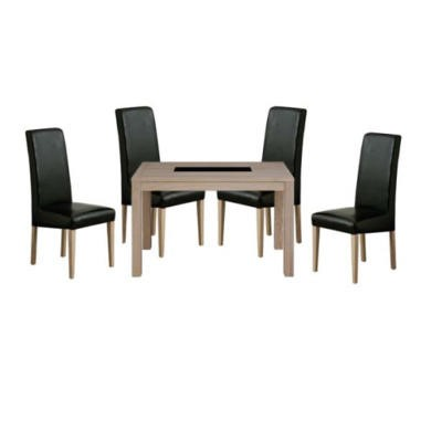 Zone Safara Solid Wood Rectangular 4 Seater Dining Set with Upholstered Chairs