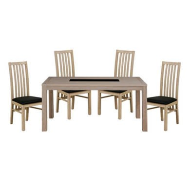 Zone Safara Solid Wood Large Rectangular 4 Seater Dining Set with Slat Back Chairs