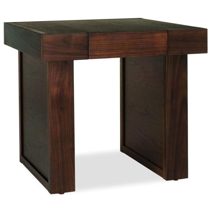 Bentley designs akita walnut square 1 drawer side table for 12 wide side table