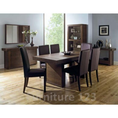 Bentley Designs Akita Walnut Dining Set with 6 Brown Tapered Back Chairs