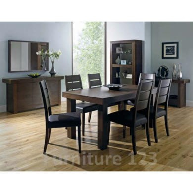 Bentley Designs Akita Walnut Rectangular 6 Seater Panelled Dining Set with Slatted Back Chairs