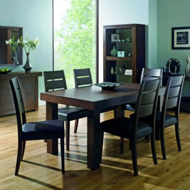 Bentley Designs Akita Walnut Large Extending Dining Set with 6 Slatted Back Chairs