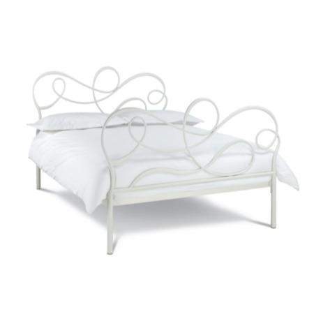 Bentley Designs Scroll White Metal Bed Frame Kingsize Furniture123