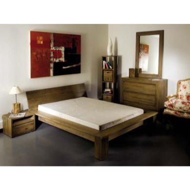 Cosmo Grey Tinted Solid Teak Bedroom Set Set With Double Bed Furniture123