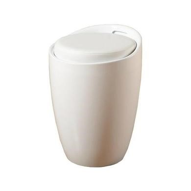 Seconique White Storage Stool with Faux Leather Padded Seat