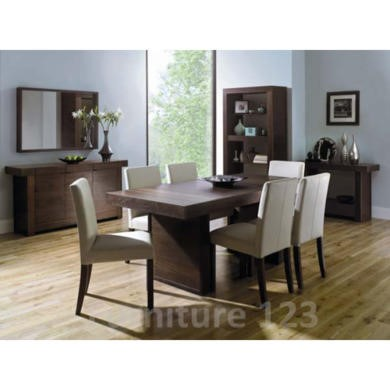 Bentley Designs Akita Walnut Dining Room Furniture Set with 6 Ivory Square Back Chairs