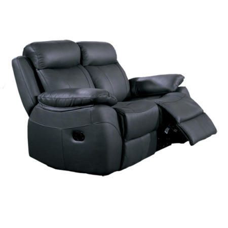 Furniture Link Alessia Black Leather 2 Seater Recliner Sofa