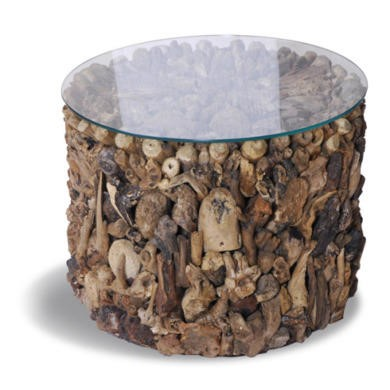 FOL073246 Driftwood Drum Round Lamp Table