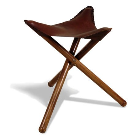 Oceans Apart Campaign Teak And Leather Small Folding Stool