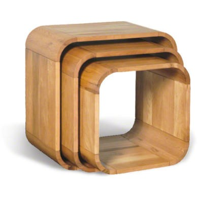 Beverly Oiled Oak Nest of 3 Cube Tables
