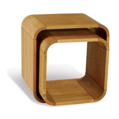 Beverly Oiled Oak Nest of 2 Cube Tables