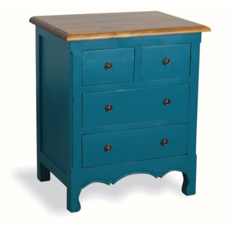 French Painted 4 Drawer Chest In Teal Furniture123