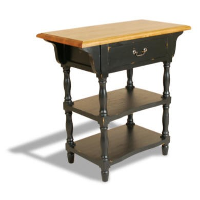 French Painted 1 Drawer 2 Shelf Console Table - antique black