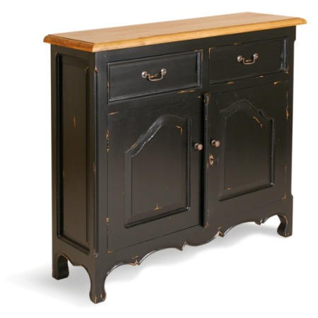 French Painted Narrow 2 Door 2 Drawer Sideboard burnt