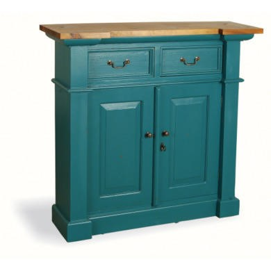 French Painted Small 2 Door 2 Drawer Sideboard - teal