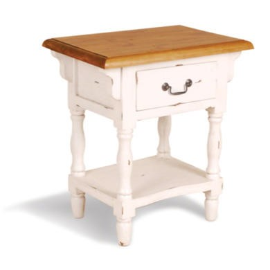 French Painted 1 Drawer Bedside Table - antique