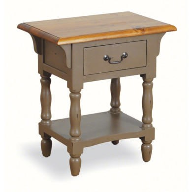 French Painted 1 Drawer Bedside Table - olive