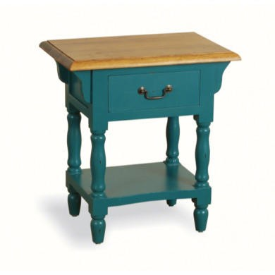 French Painted 1 Drawer Bedside Table - teal