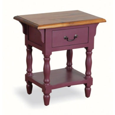 French Painted 1 Drawer Bedside Table - plum