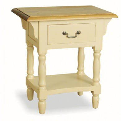 French Painted 1 Drawer Bedside Table - cream