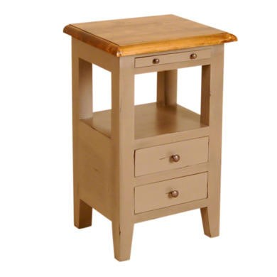 French Painted 2 Drawer Bedside Table - olive