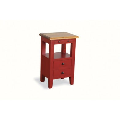 French Painted 2 Drawer Bedside Table - china red