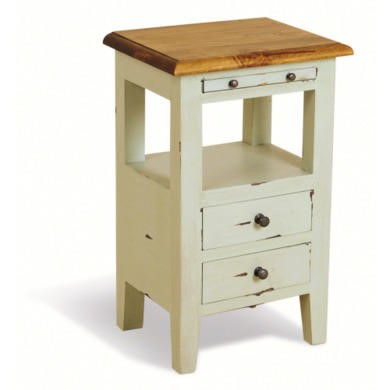 French Painted 2 Drawer Bedside Table - pale mint