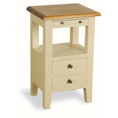 French Painted 2 Drawer Bedside Table - cream