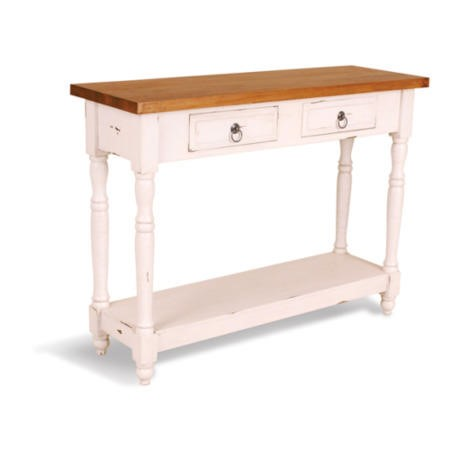 french painted 2 drawer 1 shelf console table antique. Black Bedroom Furniture Sets. Home Design Ideas