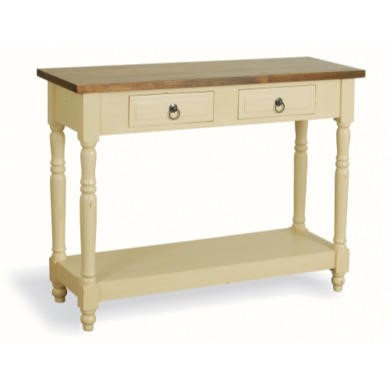 French Painted 2 Drawer 1 Shelf Console Table - cream
