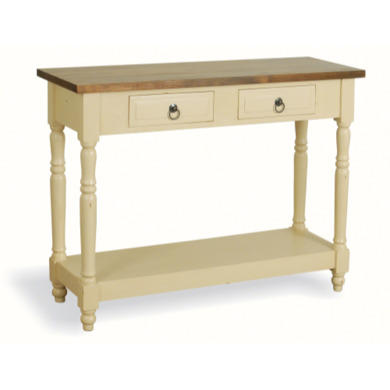 french painted 2 drawer 1 shelf console table cream. Black Bedroom Furniture Sets. Home Design Ideas
