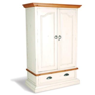 French Painted 2 Door 1 Drawer Wardrobe - antique white