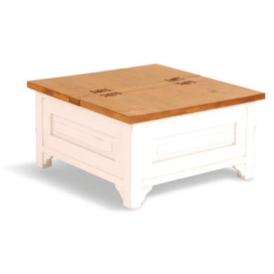Signature North French Chic Square Trunk Coffee Table Antique White Furniture123