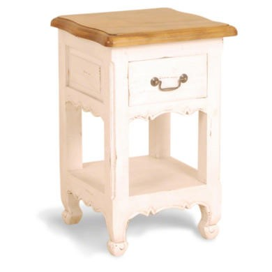 French Painted 1 Drawer 1 Shelf Bedside Table -