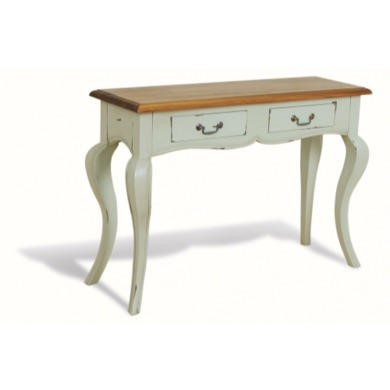 French Painted Medium 2 Drawer Console Table - pale mint