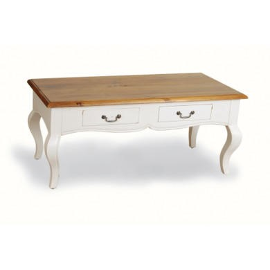 French Painted 2 Drawer Coffee Table - antique white