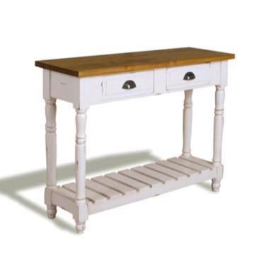 French Painted Medium 2 Drawer Slatted Console Table - burnt orange
