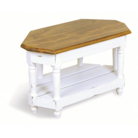 Oceans apart french painted small corner tv stand in for Furniture 123