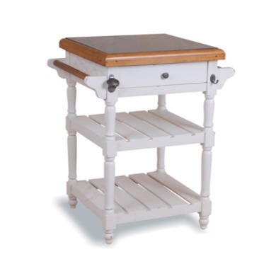 Signature North French Chic Kitchen Trolley with Granite Top  antique white