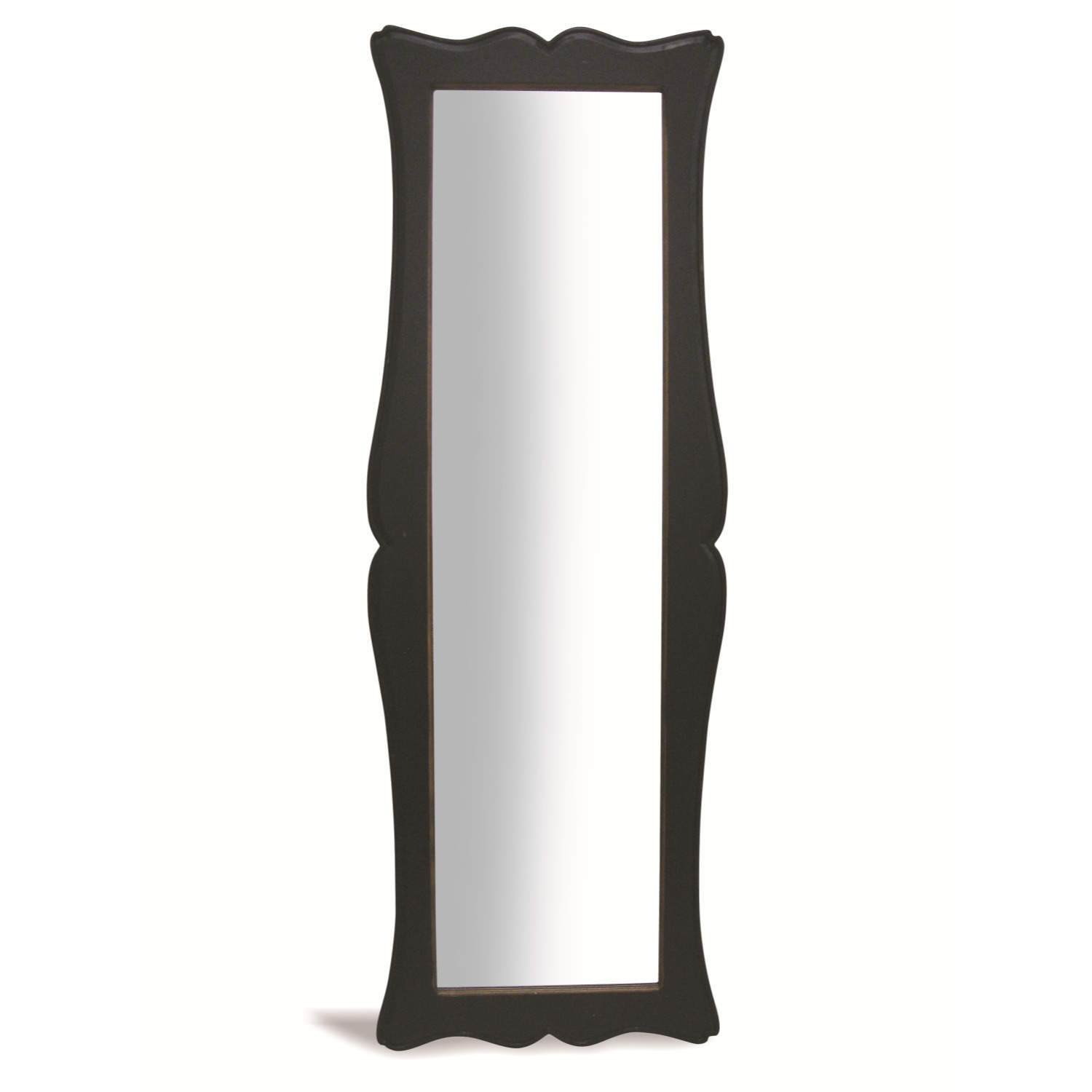 French painted tall free standing mirror antique black for Antique standing mirror