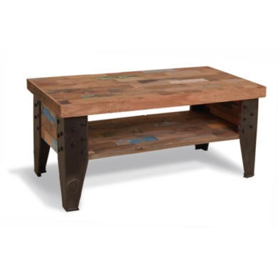 Recycled Rectangular Coffee Table with Shelf